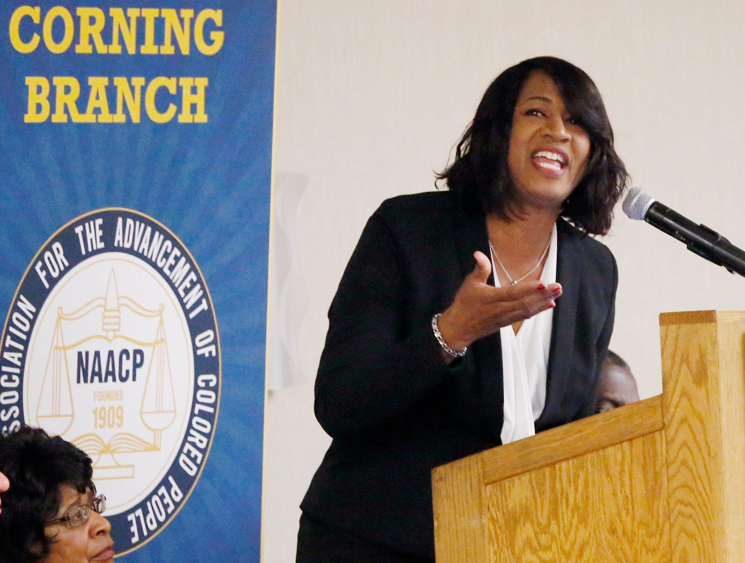 2016: The Rev. Lorri Thornton tells the audience that dreamers like Martin Luther King Jr. are possible in today's world, but they need to rise up and be restored. Thornton was the keynote speaker at Elmira Corning Branch of the National Association for the Advancement of Colored People and the Black Technology Network's MLK breakfast Saturday at the Radisson Hotel in Corning.