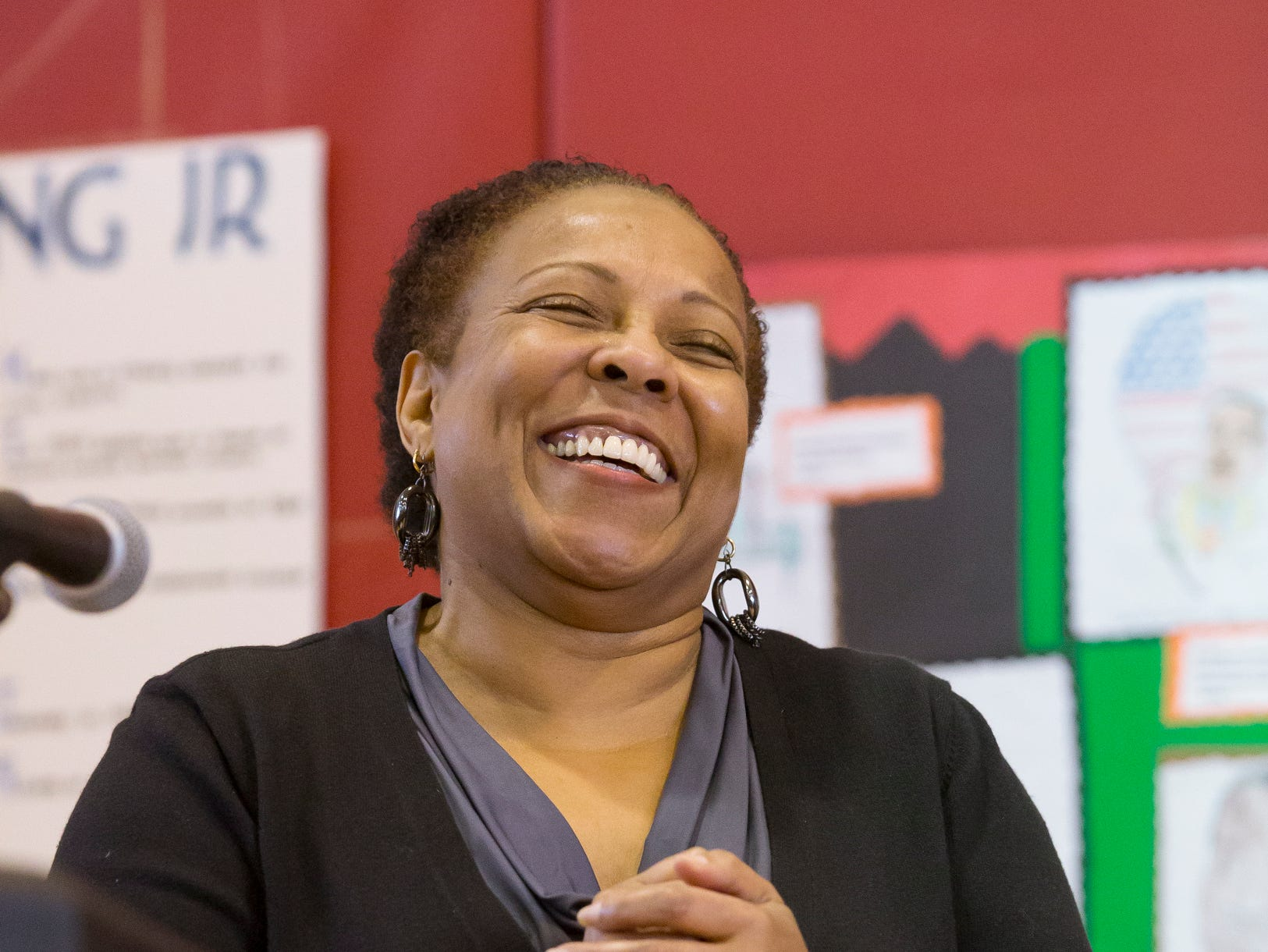 2015: Marcia Fort, the Director of the Greater Ithaca Activities Center waits for the applause to die down after she was introduced Saturday morning at the center's annual Martin Luther King Breakfast. Fort, in her last year as director, gave the keynote presentation.