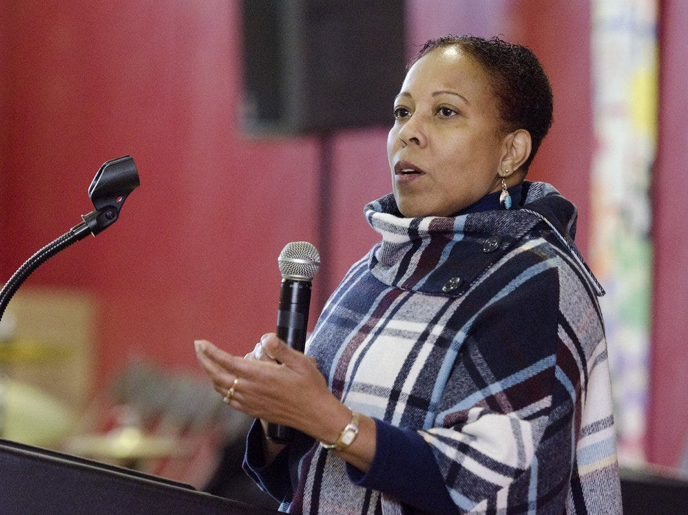 2013: GIAC Director Marcia Fort welcomes the crowd during the annual GIAC MLK breakfast Saturday morning at Beverly J. Martin school in Ithaca.