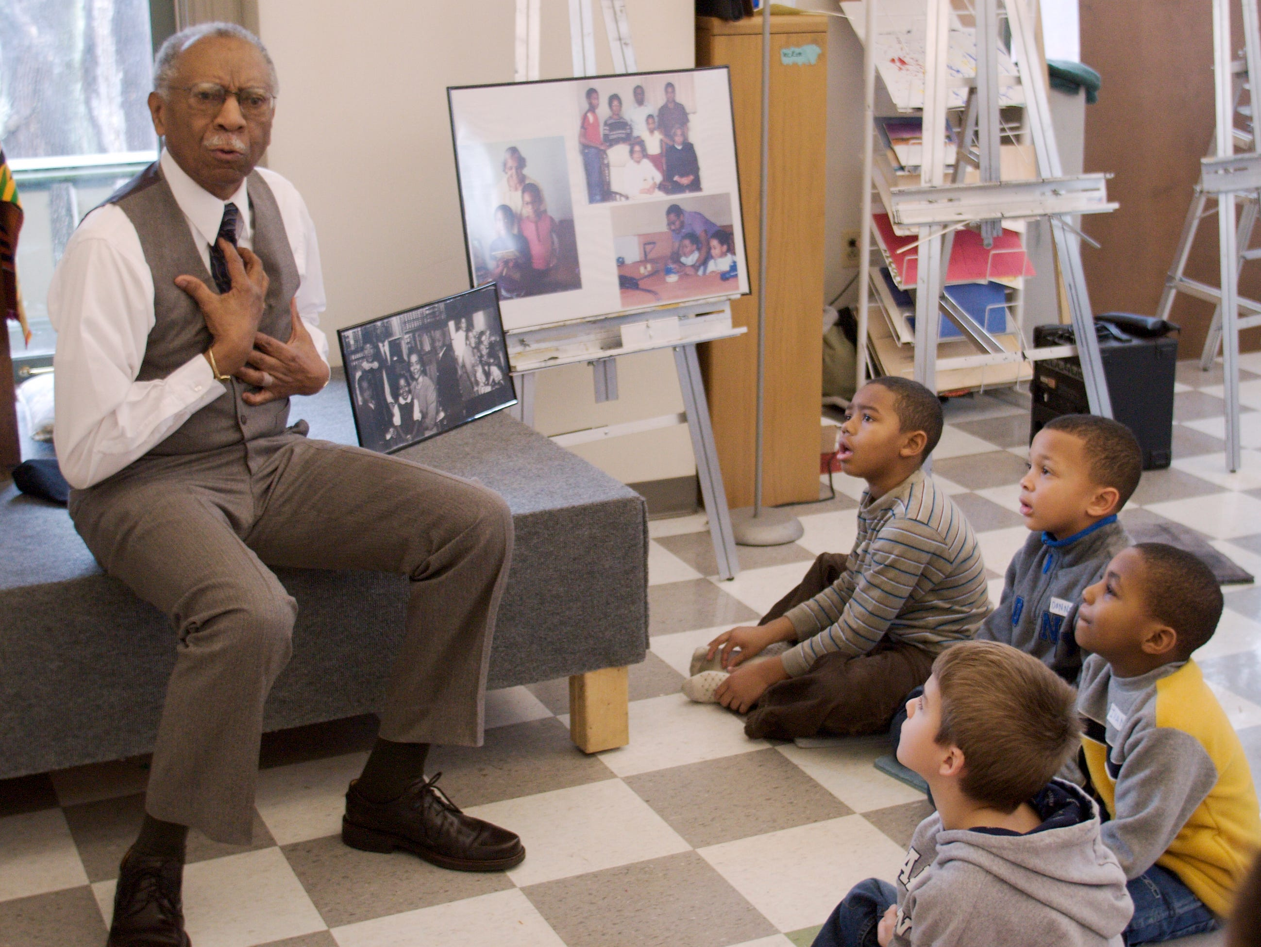 2007: Storyteller David Anderson of Rochester tells captivating stories to youngsters participating in Martin Luther King Jr. Day  activies at 171 Cedar Arts Center Monday afternoon.
