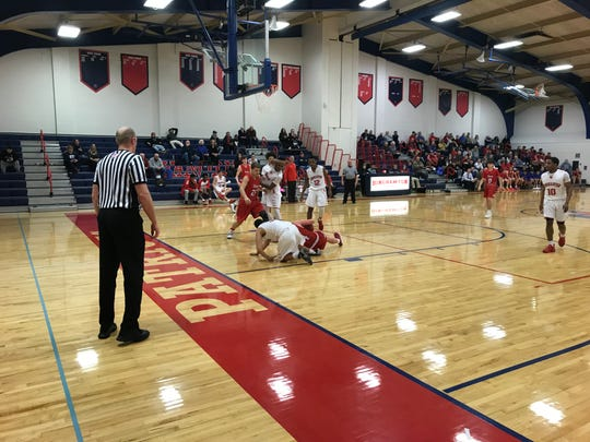 Owego and Binghamton getting after it Monday night. The Indians won, 60-58.