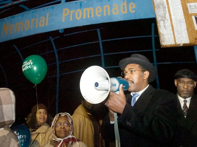 2007: The Rev. Arthur Jones Jr., chairman of the Broome County Martin Luther King Commission, addresses the audience during the Dr. Martin Luther King, Jr. celebration Monday at the Martin Luther King Promenade in Binghamton.