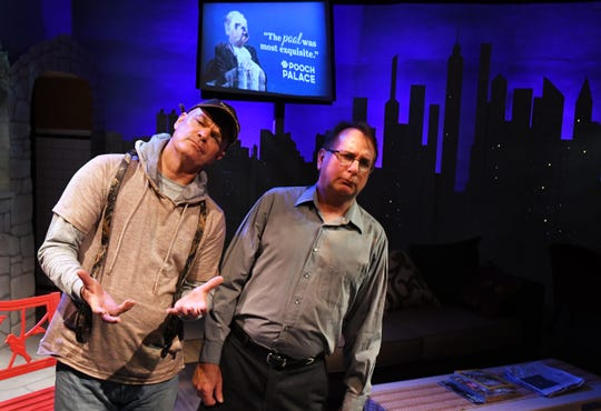Sylvia, a comedy about a man who finds a dog with the name Sylvia in a park, played by Jessica Foix, and the conflicts that result. This scene shows Rob Kenna as Tom and Mark Blackledge as Greg.