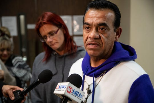 Raynaldo Garza  father of Rai-ane Garza, a King High School student dead who was killed in Elton Wayne Holmes speaks to the media after Holmes was sentenced to 75 years in prison on Tuesday, January 15, 2018.