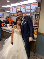 Arianne and Jordan Moore had a wedding ceremony inside a Whataburger restaurant in January 2019.