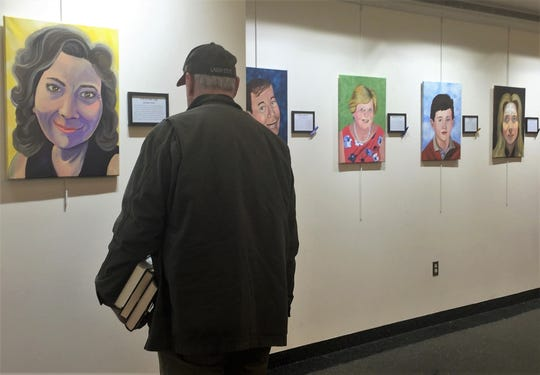 """Faces of Cancer,"" an exhibt by late artist Lisa Semple, is on display at the Cherry Hill Library in January."