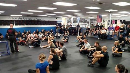 Rinaldo Rossi leads an active-shooter seminar at Israeli Krav Maga Cherry Hill. The self-defense school has another session coming up on Feb. 10.