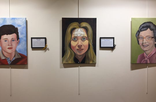 """""""Faces of Cancer,"""" a month-long show at Cherry Hill's library, is the last work of artist Lisa Semple."""