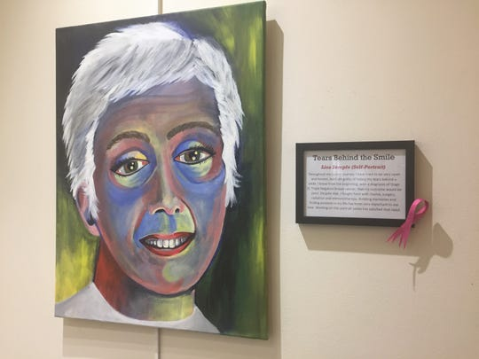 """Lisa Semple included this self-portrait in """"Faces of Cancer,"""" a month-long exhibit at Cherry Hill's library."""