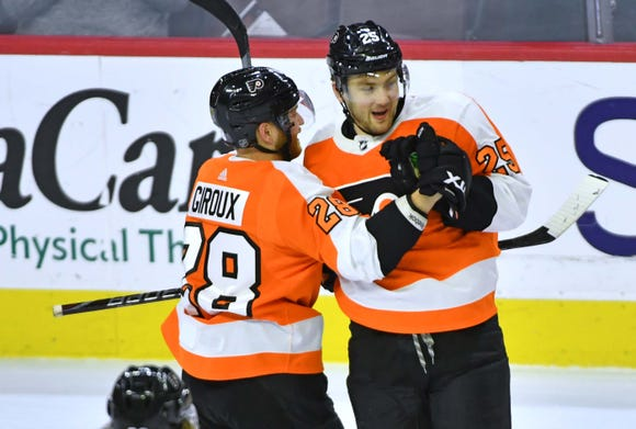 James van Riemsdyk had a hat trick in the Flyers 7-4 rout of the Minnesota Wild.