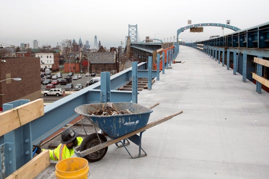 Construction of a pedestrian and bicycle ramp on the Benjamin Franklin Bridge nears completion for a spring opening on the  Camden sided across from the river from Philadelphia.