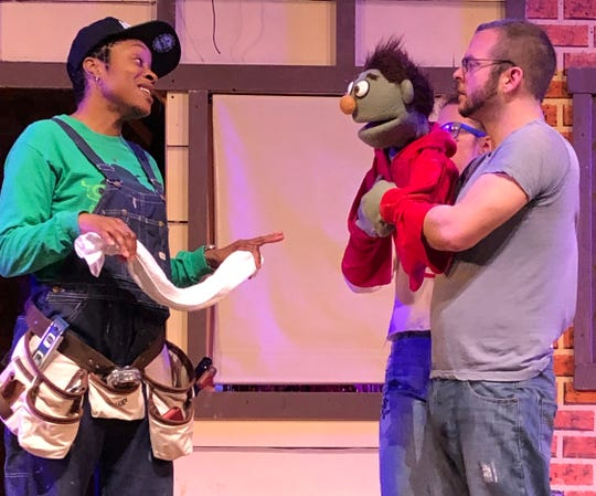 Gary Coleman ( by Alicia Smartt) and Nicky (by CJ Kish) in a scene from 'Avenue Q' by Collingswood Community Theatre.