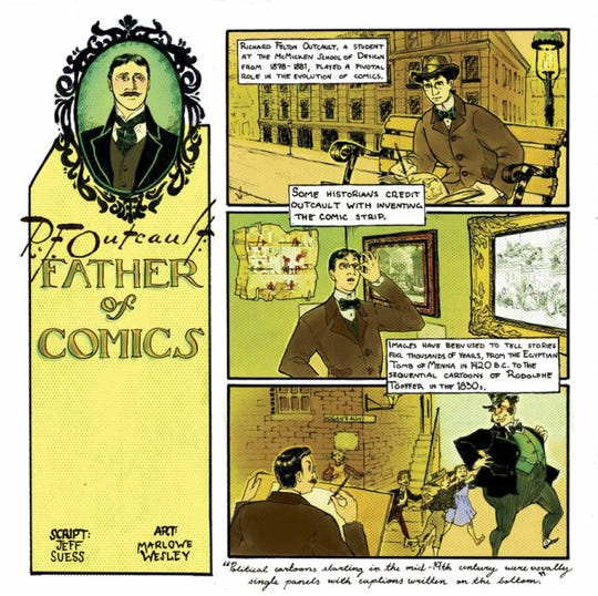 """An original comic page by Jeff Suess and Mal Wesley on cartoonist R.F. Outcault, from the book """"AAC 150,"""" on the 150th anniversary of the Art Academy of Cincinnati."""