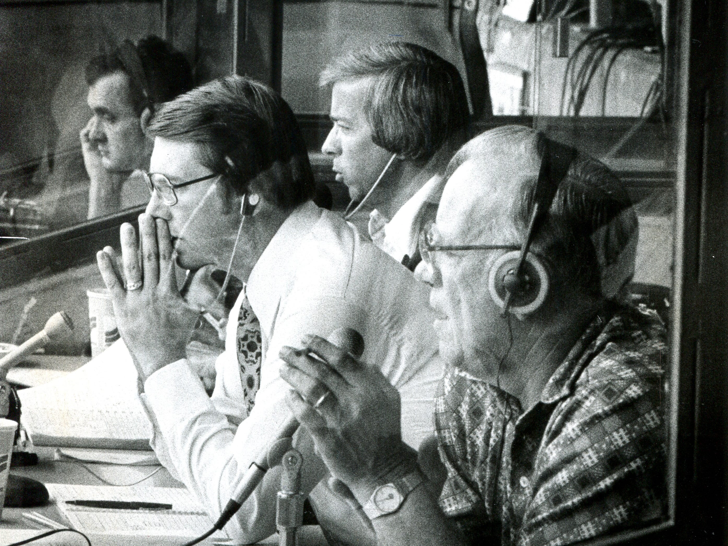 Cincinnati Reds broadcasters, Marty Brennaman, Dick Carlson, and Joe Nuxhall. Enquirer file photo by Dick Swaim Sept. 1980.