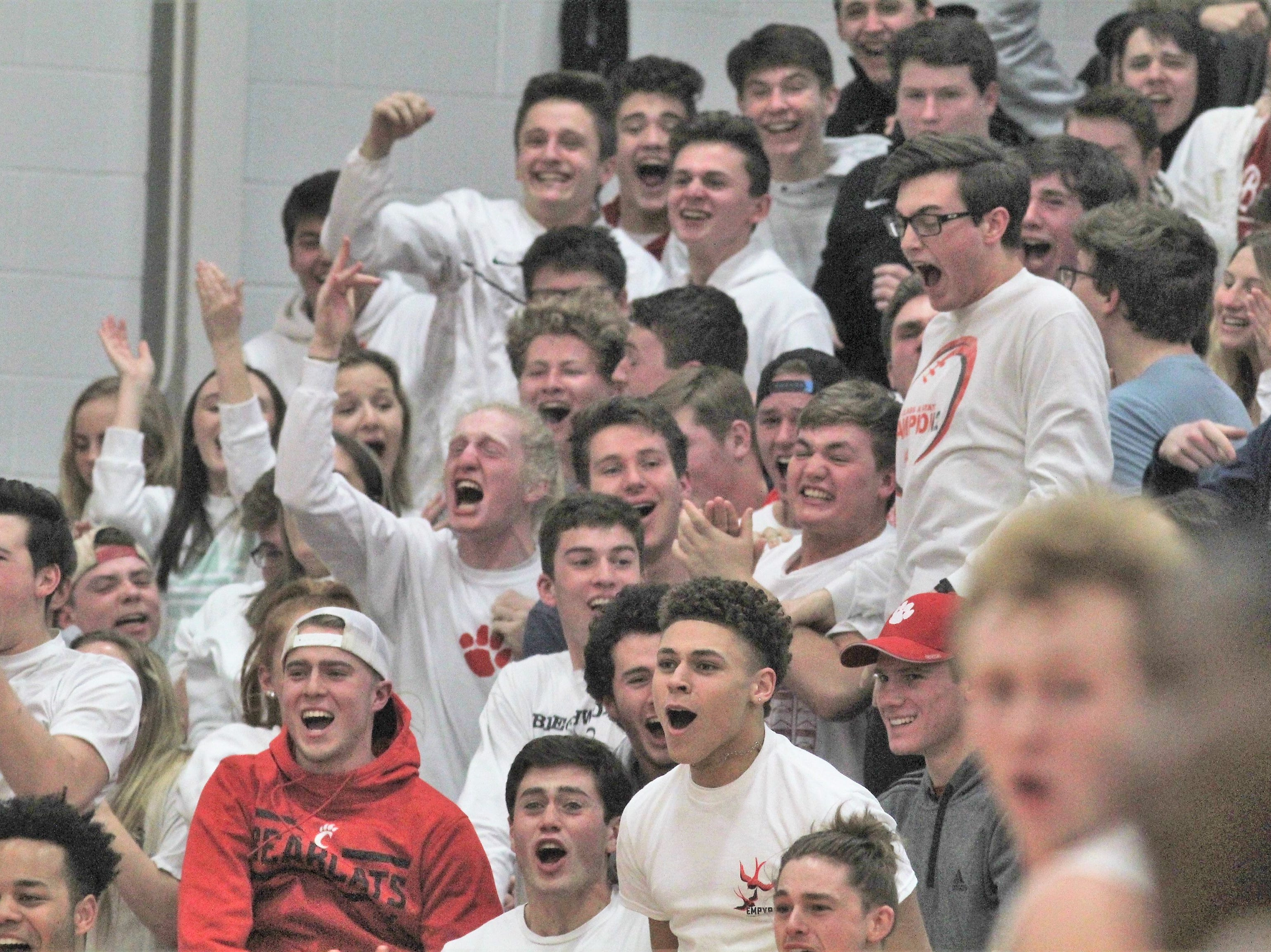 "Beechwood students cheer as Newport defeated Beechwood 53-52 in the first round of the All ""A"" 9th Region boys basketball tournament Jan. 14, 2019 at Beechwood HS, Fort Mitchell KY."
