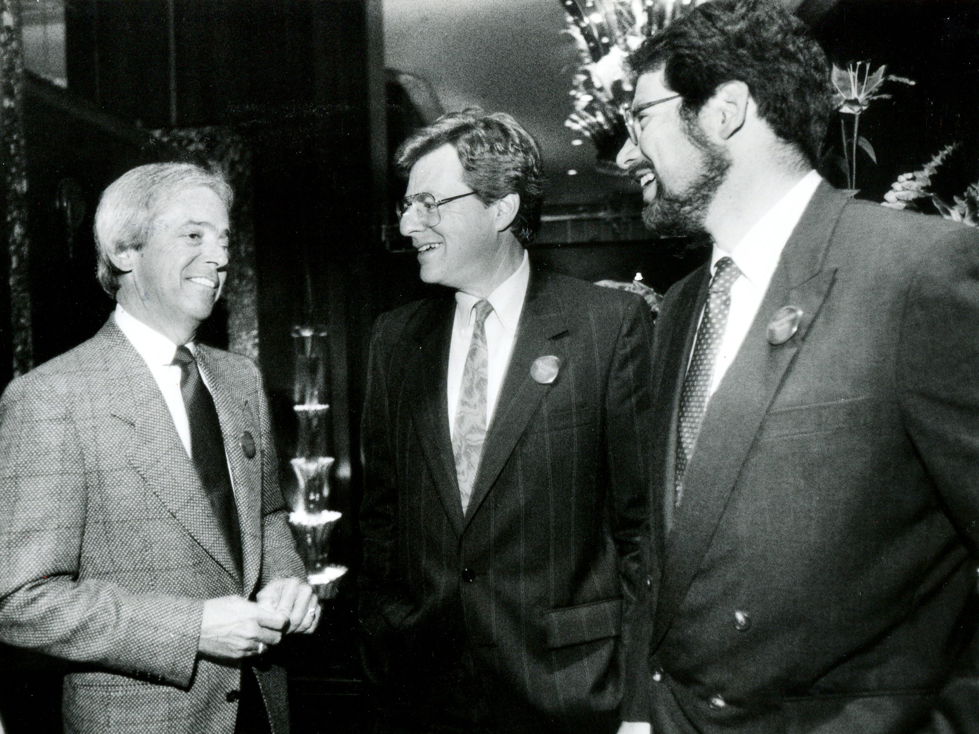 Cincinnati Reds broadcaster, Marty Brennaman,  Jerry Springer, former WLWT news anchor, and Dr. Lawrence Kurtzman, Sept. 17, 1990. Enquirer file photo by Michael Snyder.