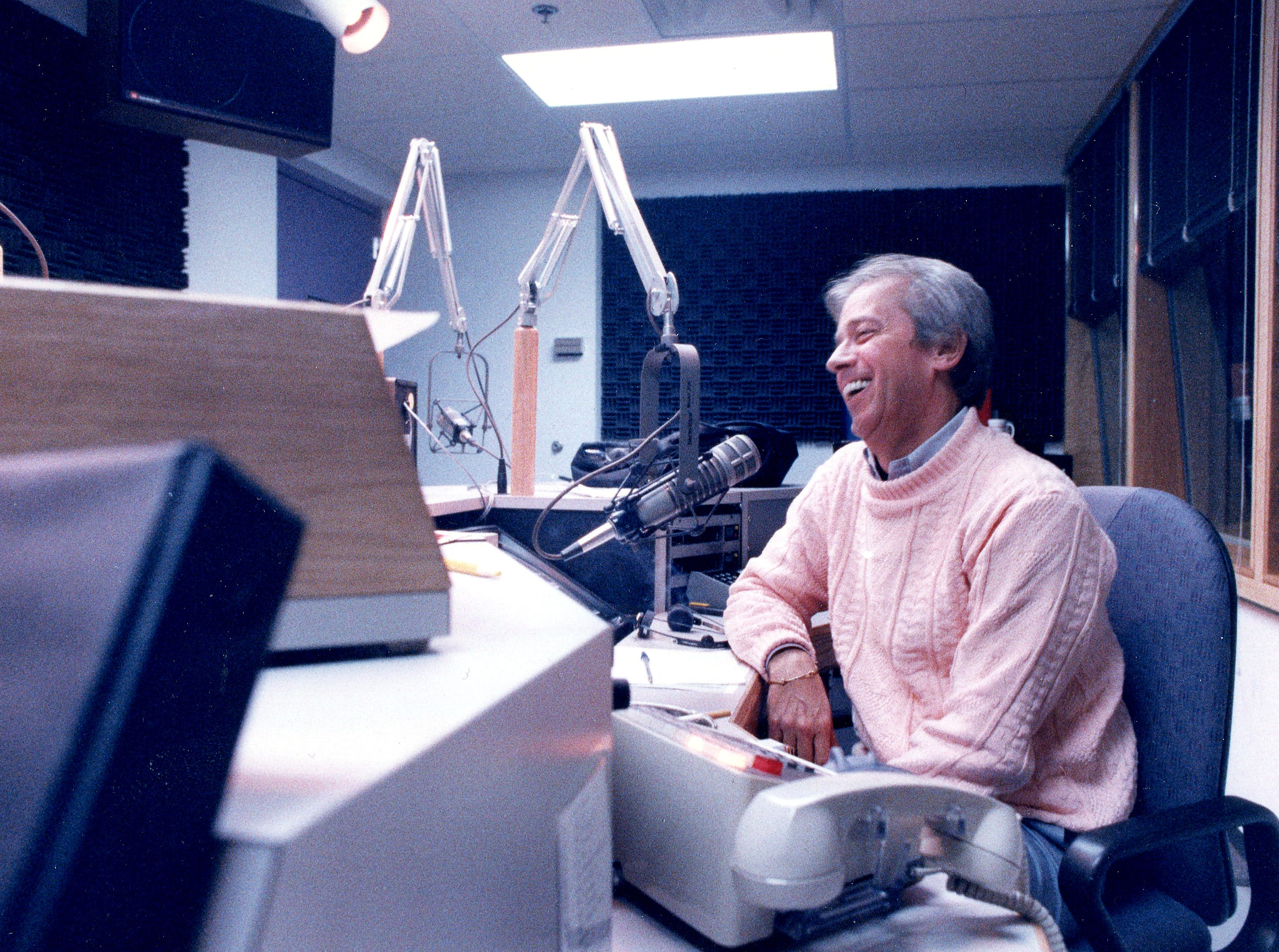 Cincinnati Reds broadcaster hosts the Hot Stove League show from WLW radio studios February 15, 1989. Glenn Hartong/Enquirer file photo.