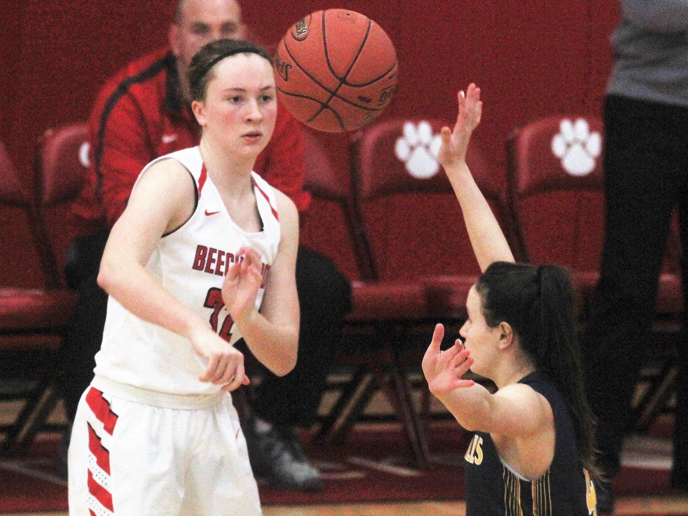 Beechwood sophomore Hanna Mueller passes the ball as Beechwood beat Seven Hills 57-54 in girls basketball Jan. 15, 2019 at Beechwood HS, Fort Mitchell KY.