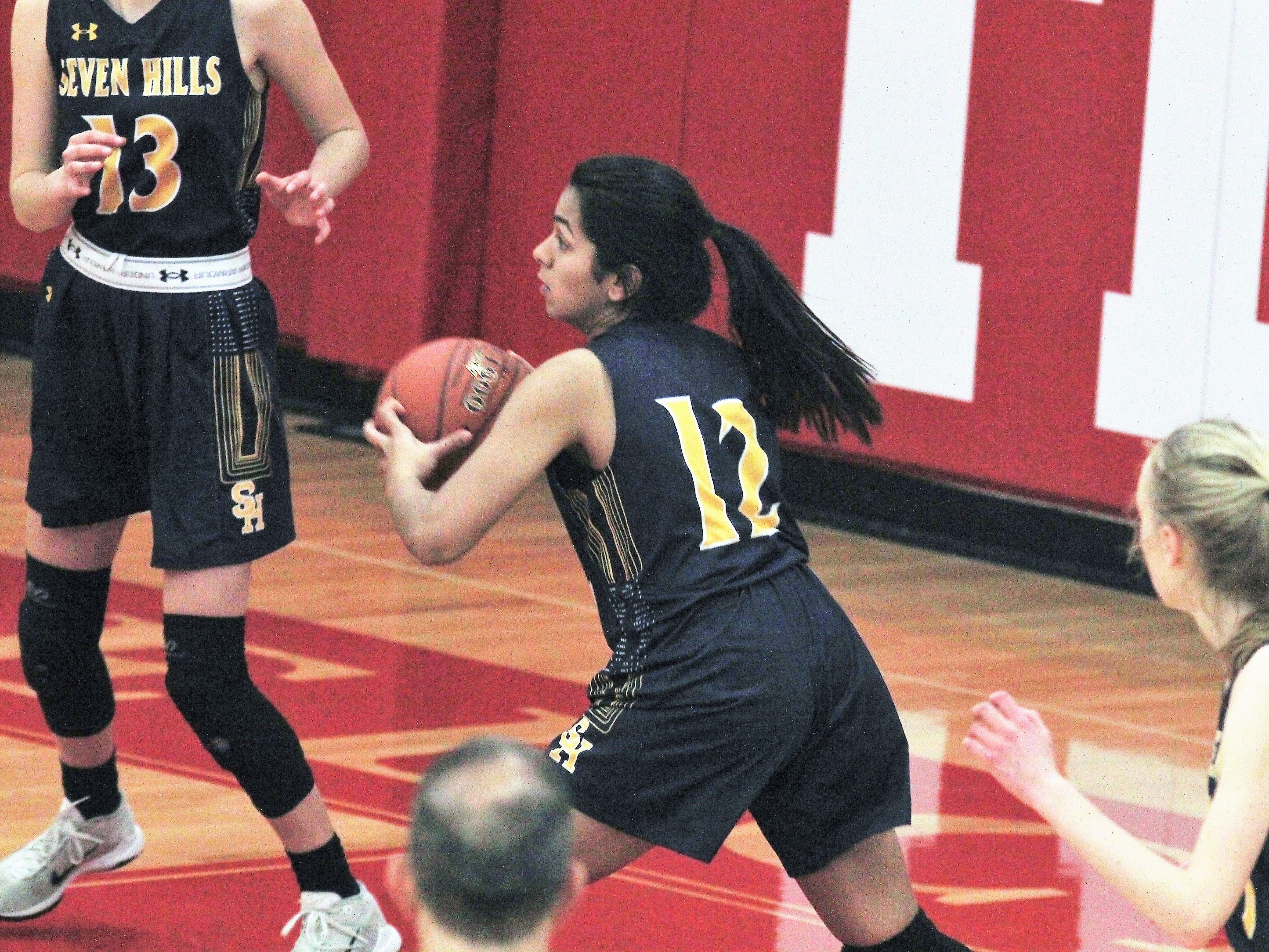 Shriya Kilaru of Seven Hills grabs the rebound and looks to make an outlet pass as Beechwood beat Seven Hills 57-54 in girls basketball Jan. 15, 2019 at Beechwood HS, Fort Mitchell KY.