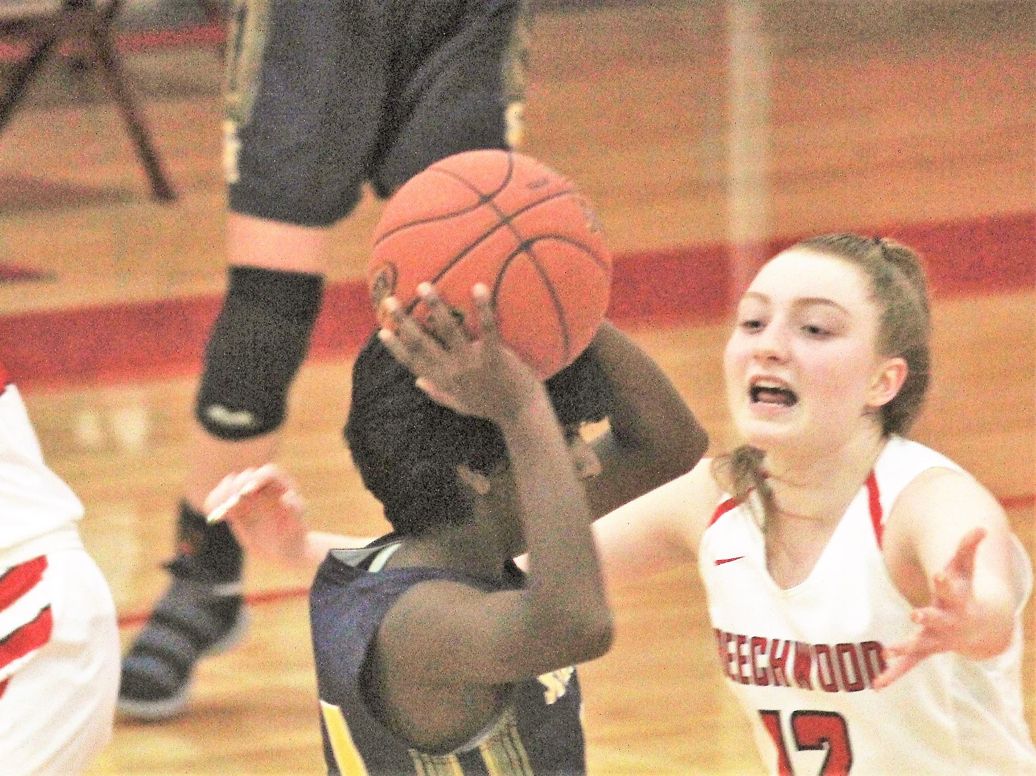 Beechwood sophomore Carlie Arlinghaus pressures Priya Jenkins of Seven Hills as Beechwood beat Seven Hills 57-54 in girls basketball Jan. 15, 2019 at Beechwood HS, Fort Mitchell KY. Arlinghaus had 21 points in the win.