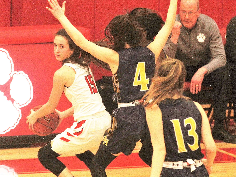 Seven Hills' Annie Leeper pressures Beechwood junior Camryn Johnson as Beechwood beat Seven Hills 57-54 in girls basketball Jan. 15, 2019 at Beechwood HS, Fort Mitchell KY.