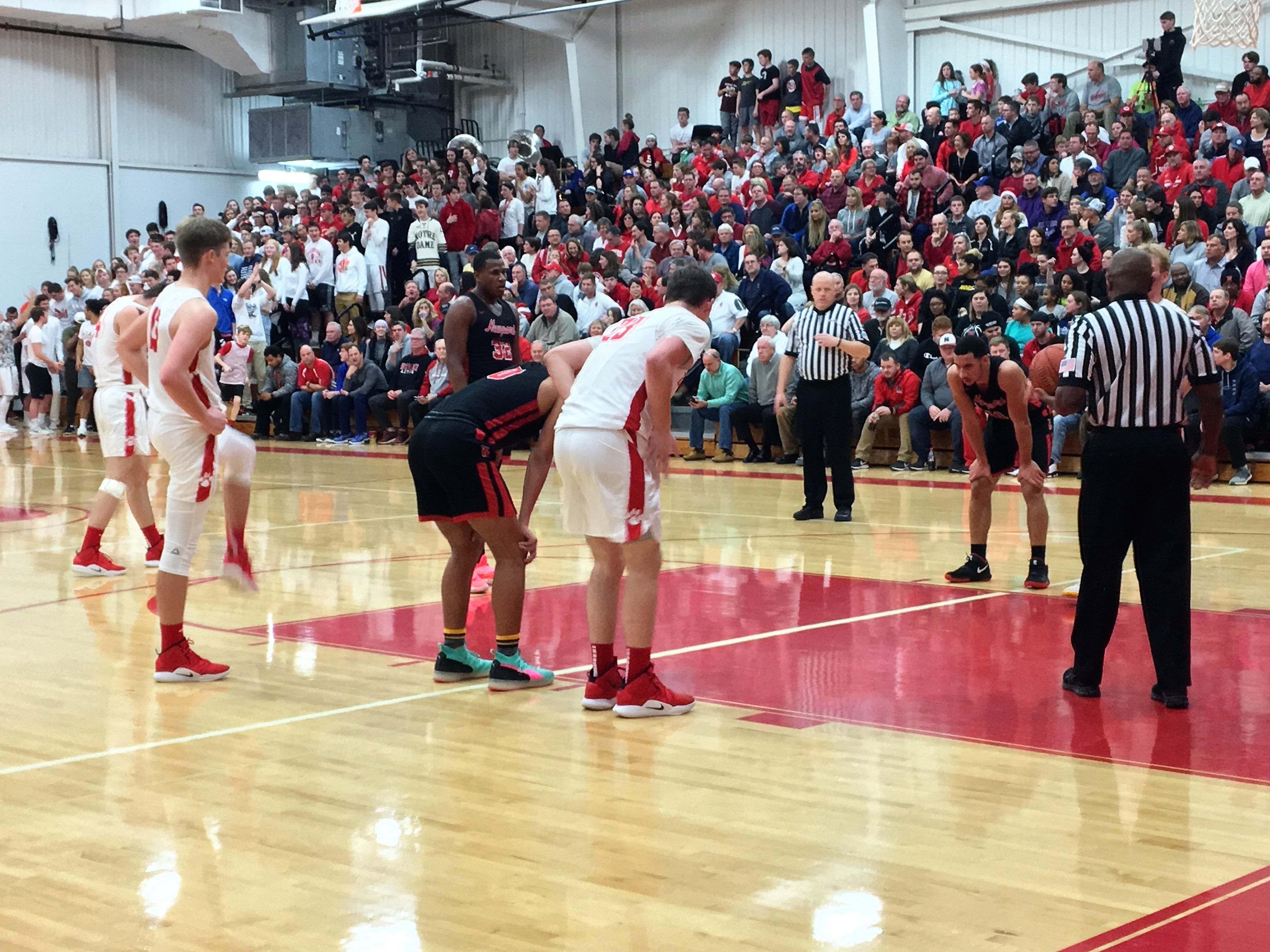 "A standing-room only crowd watched Beechwood and Newport as Newport defeated Beechwood 53-52 in the first round of the All ""A"" 9th Region boys basketball tournament Jan. 14, 2019 at Beechwood HS, Fort Mitchell KY."