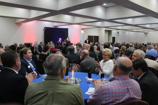 """A crowd of at least 350 people gathered to hear both area mayors speak at the """"Mayor's Power Breakfast"""" on Tuesday morning at Riverview Inn."""