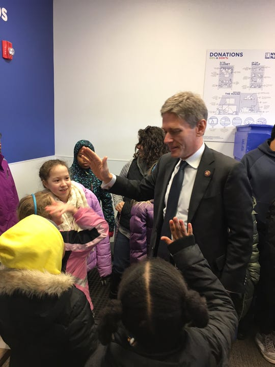 Congressman Tom Malinowski with members of the North Plainfield Girl Scout Troop number 65141.