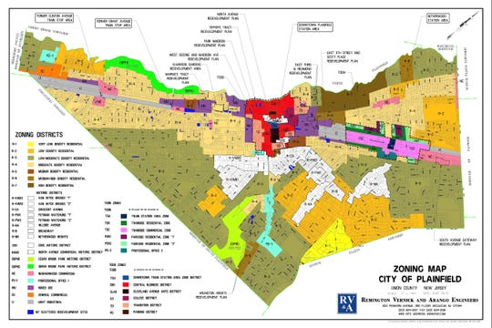 Plainfield's 2015 zoning map