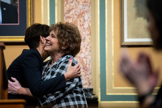 Governor Kim Reynolds hugs Speaker of the House Linda Upmeyer, R-Clear Lake, at the conclusion of the Condition of the State address on Tuesday, Jan. 15, 2019, at the Iowa State Capitol in Des Moines.