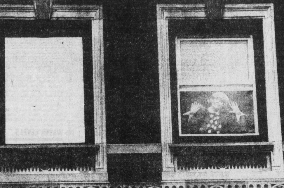 """From October 1982: Carol Channing waves through the screen of """"her"""" new window at the Hotel Savery in Des Moines. Other hotel windows are sealed like the one on the left, but Channing, who was in town performing """"Hello, Dolly"""" at the Des Moines Civic Center, insisted that the hotel replace the one in her room with """"an old-fashioned type that raises and lowers"""" so she could get fresh air."""
