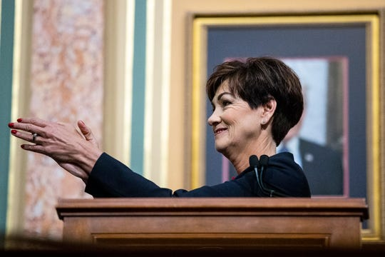Governor Kim Reynolds gives her Condition of the State address before the members of the House and Senate on Tuesday, Jan. 15, 2019, at the Iowa State Capitol in Des Moines.