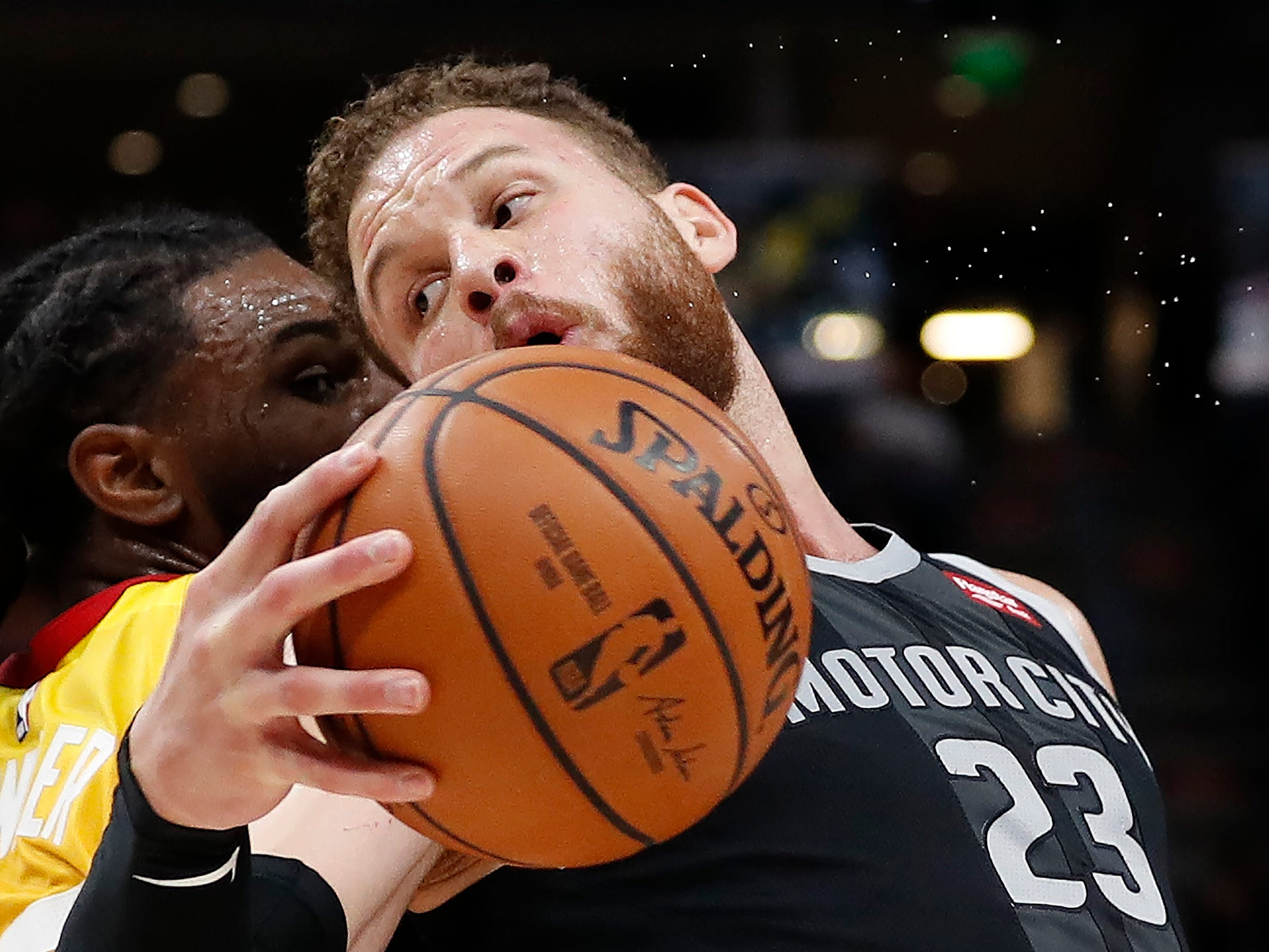 Pistons forward Blake Griffin looks to put a move on Jazz forward Jae Crowder during of the Pistons' 100-94 loss to the Jazz on Monday, Jan. 14, 2019, in Salt Lake City.