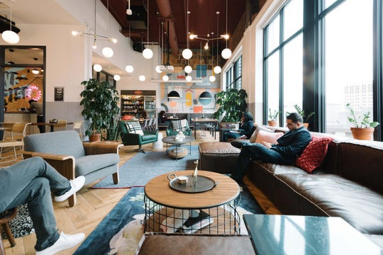 Inside of WeWork Detroit coworking space in Detroit.
