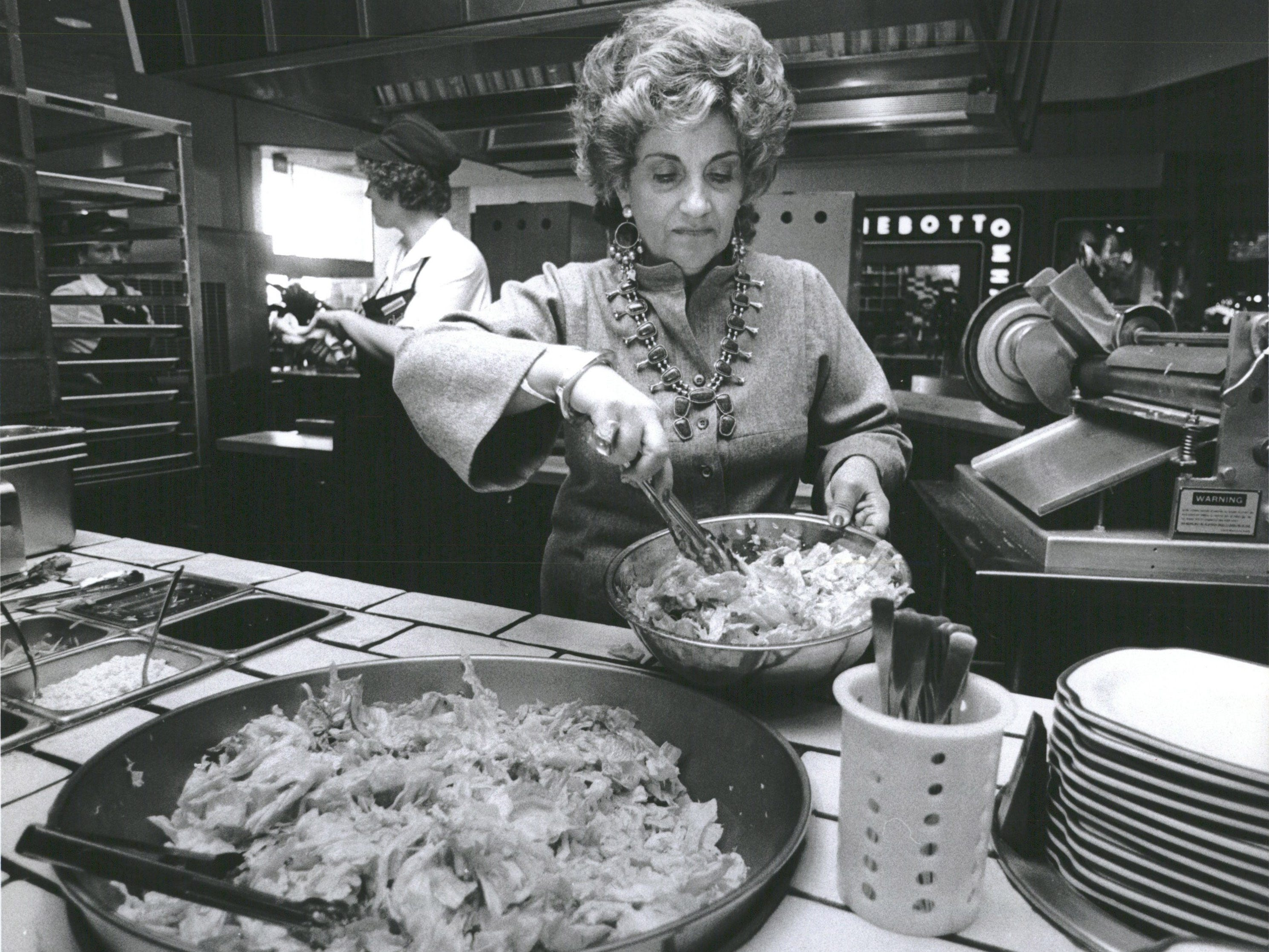 "Olga Loizon, formerly of Greece, lives in Bloomfield Hills, Michigan. She and her son Bill opened a stand in the Continental Market in Birmingham, Michigan and later founded the chain ""Olga's Kitchen,"" which features Greek fare."