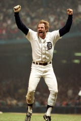 Tigers outfielder Kirk Gibson celebrates one of two home runs in Game 5 of the World Series against the Padres on Oct. 14, 1984 in Detroit.