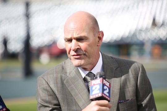 Kirk Gibson on Opening Day at Comerica Park, April 8, 2016.