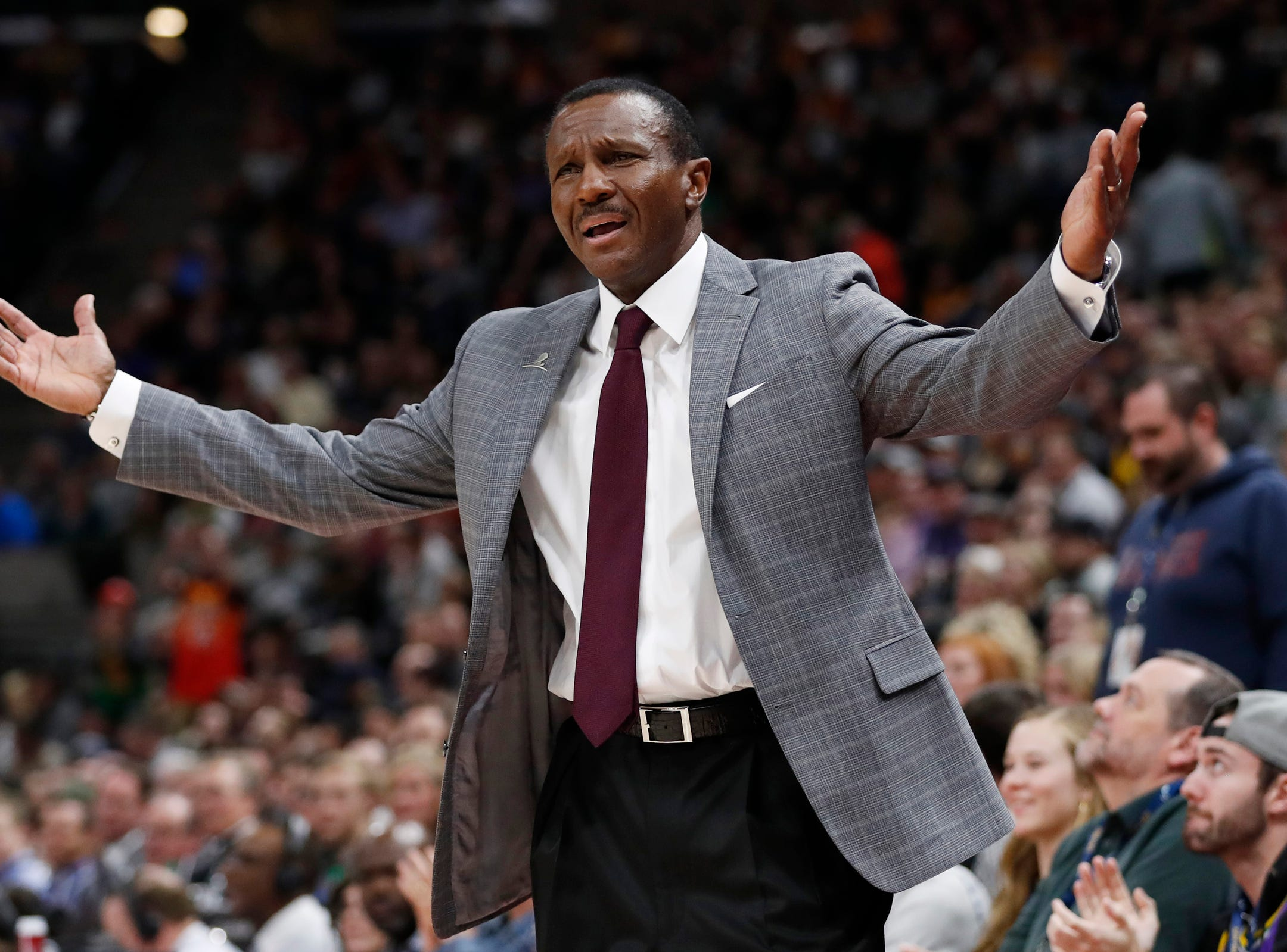 Pistons coach Dwane Casey reacts in the third quarter of the 100-94 loss to the Jazz on Monday, Jan. 14, 2019, in Salt Lake City.