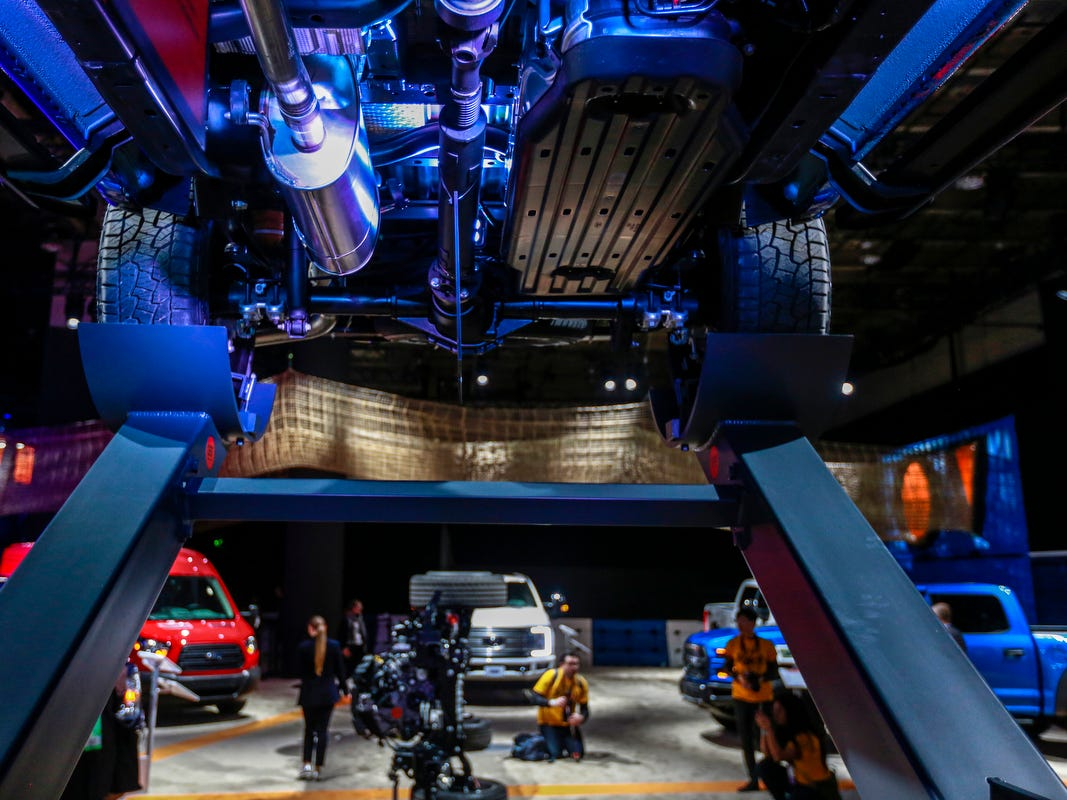 The undercarriage of the 2020 Ford Ranger truck is featured during the 2019 North American International Auto Show held at Cobo Center in downtown Detroit on Tuesday, Jan. 15, 2019