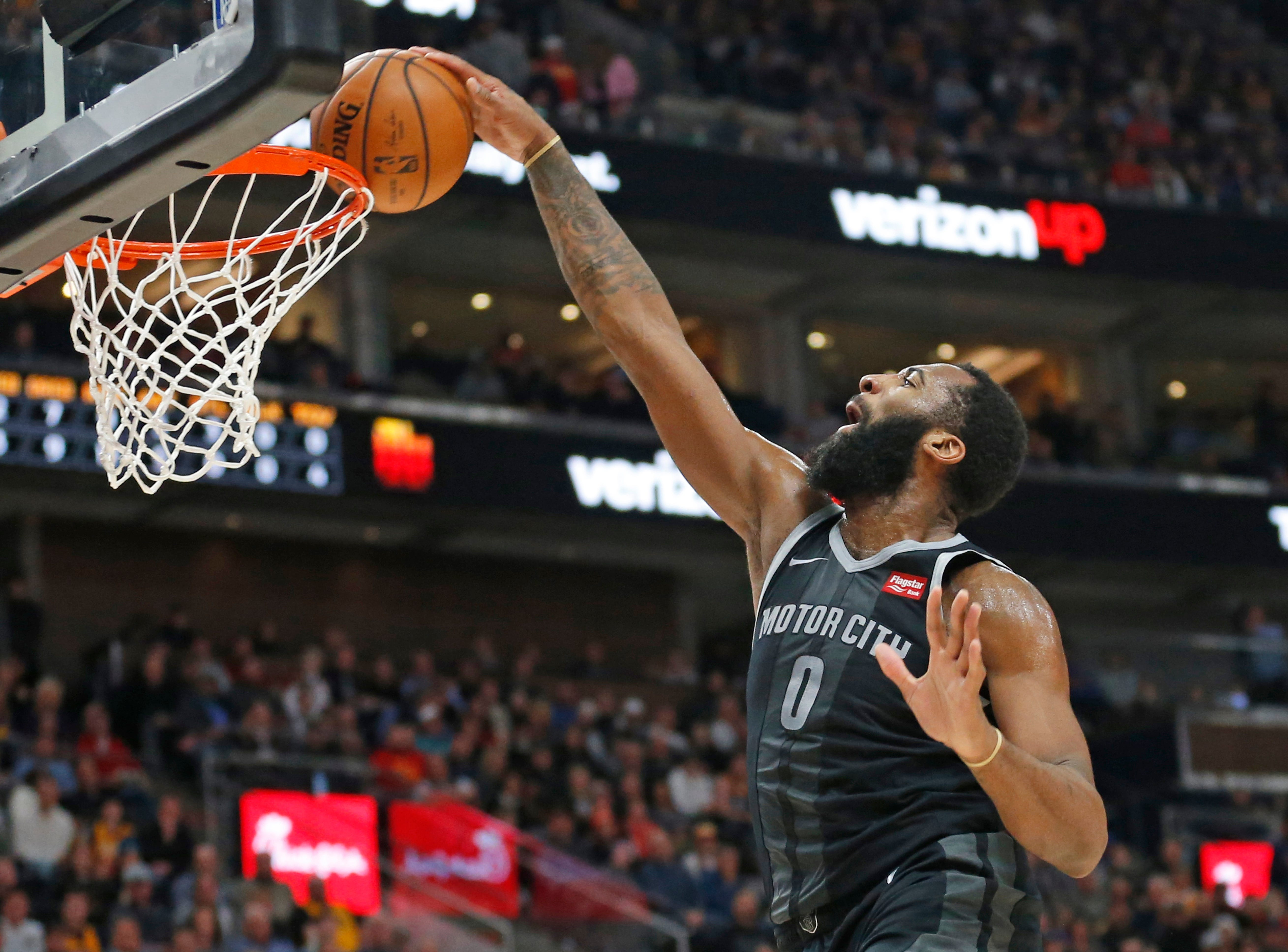 Pistons center Andre Drummond dunks during the first half of the 100-94 loss to the Jazz on Monday, Jan. 14, 2019, in Salt Lake City.