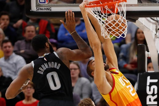 NBA: Drummond drops 31 as Pistons top Timberwolves | ABS ...  |Andre Drummond Pistons Dunk