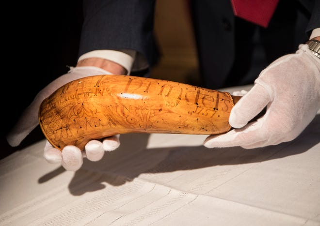 The FBI returns the Nowlin powder horn, a rare 262-year-old stolen Dearborn artifact to the Dearborn historical Museum in Dearborn, Mich., Tuesday, Jan. 15, 2019.
