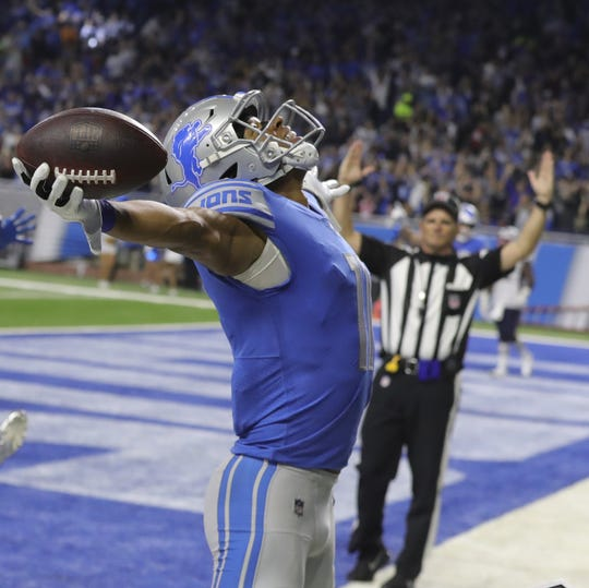 Lions receiver Marvin Jones after scoring a touchdown during the second half against the Patriots on Sept. 23, 2018 at Ford Field.