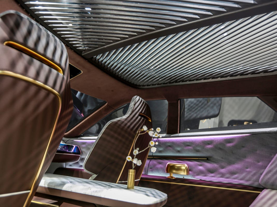 The interior of the Infiniti QX Inspiration concept car is featured during the 2019 North American International Auto Show held at Cobo Center in downtown Detroit on Tuesday, Jan. 15, 2019
