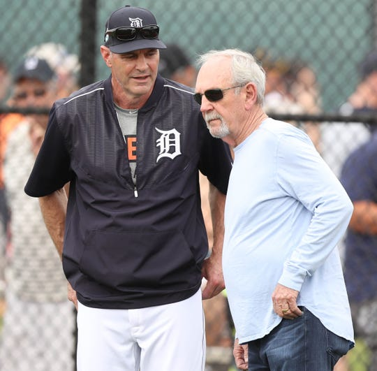Former Detroit Tigers player Kirk Gibson, left, and former manager Jim Leyland talk during spring training, Feb. 21, 2017 in Lakeland, Fla.
