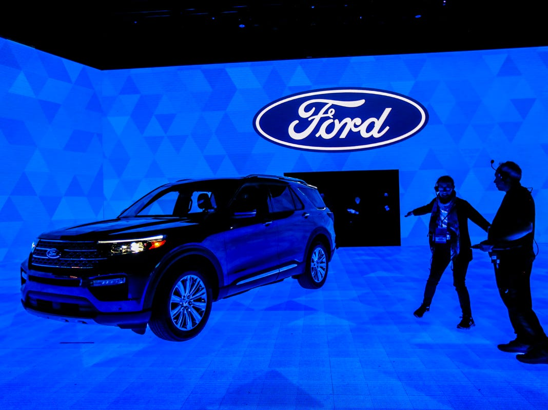 The 2020 Ford Explorer is seen on the stage, during the 2019 North American International Auto Show held at Cobo Center in downtown Detroit on Tuesday, Jan. 15, 2019