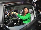 Michigan Gov. Gretchen Whitmer tours the North American International Auto Show during media preview days at Cobo Center in Detroit.