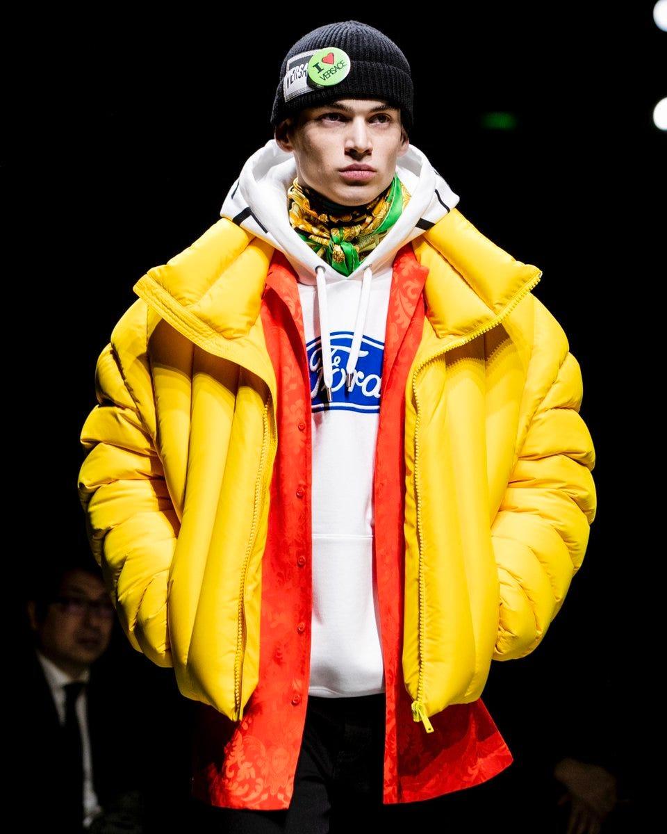 Versace shows a Ford logo hoodie at Milan Fashion Week.