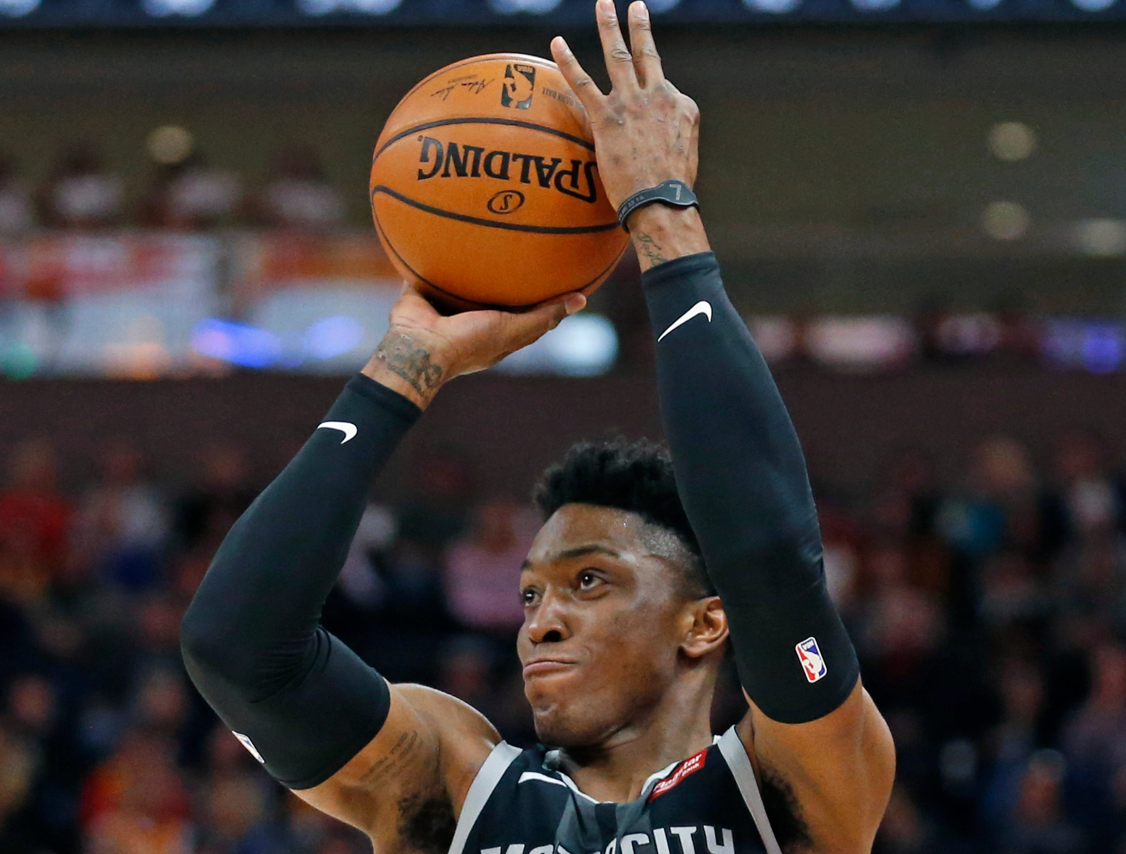 Detroit Pistons forward Stanley Johnson (7) shoots against the Utah Jazz during the first half of an NBA basketball game Monday, Jan. 14, 2019, in Salt Lake City. (AP Photo/Rick Bowmer)