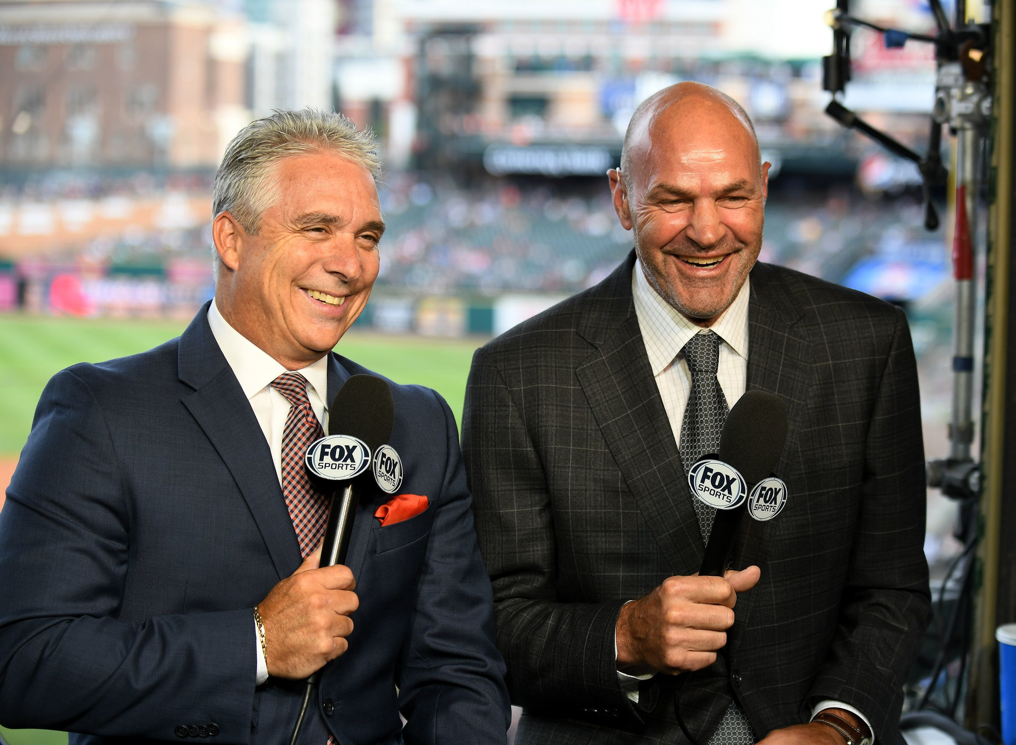 Matt Shepard, left, with Tigers legend Kirk Gibson, said working Tigers broadcasts will bring him back to fond moments of his childhood.